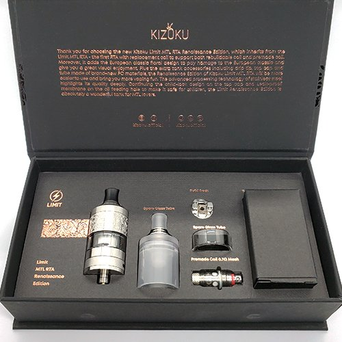 The Kizoku Limit Renaissance Edition is a fancier version of the Kizoku Limit RTA. From first impressions it looks like it's essentially the same tank, just with a floral design on the mid cap and fancier packaging. It has the same 3ml tank capacity, the same slotted and pin hole airflow, and the same 22mm base diameter. The Kizoku Limit Renaissance comes with a rebuildable single coil deck, as well as stock coils. This means that you can use the Limit Renaissance as either an RTA or as a regular vape tank. Whatever you choose, this tank is made for MTL vaping at low wattages. If you're a mouth to lung vaper, should you pick up the Kizoku Limit Renaissance RTA? This tank was sent to me from HeavenGifts for the purpose of this review. Box Contents 1 x Kizoku Limit Renaissance Edition RTA 1 x Extra Glass Tube 1 x Rebuildable Deck 1 x 0.7ohm Mesh Coil 1 x PC Top Cap/Mid Cap & Drip Tip 1 x Accessories Bag 1 x Manual 1 x Warranty Card Specifications 22mm Diameter 3ml Tank Capacity Single Coil Build Deck Slot + Hole Airflow Stock Coil Options Secure Top-Fill Cap Design & Build Quality Compared to the original Kizoku Limit, the Renaissance looks quite a bit fancier. The mid cap is engraved with a floral pattern that is very cleanly machined. It looks really good and makes the Renaissance edition stand out from other tanks. It just looks high-end and expensive. Aside from the floral design, the Renaissance Edition is the exact same as the original Limit RTA. It's a small tank with the same 22mm diameter. Because of its small size, this tank looks best on small single battery mods or slim dual battery mods. It's made completely out of SS304 stainless steel which has proven to be quite durable. I received the silver color for this review and it has a shiny finish that pairs well with other stainless steel and silver mods. There is knurling along the top cap as well as on the airflow control ring. Limit is engraved in the top cap among the floral pattern which makes it a littl